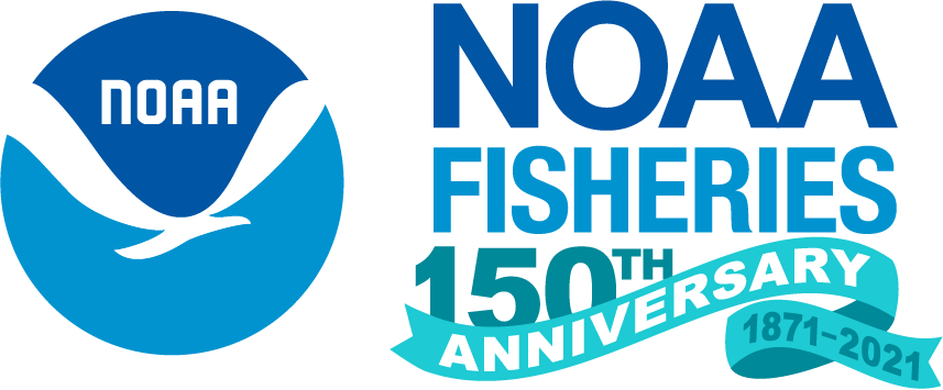NOAA Fisheries emblem with a teal ribbon and text highlighting the agency's 150th anniversary